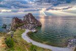 Rocha Shaman, no lago Baikal, no sul da Sibéria
