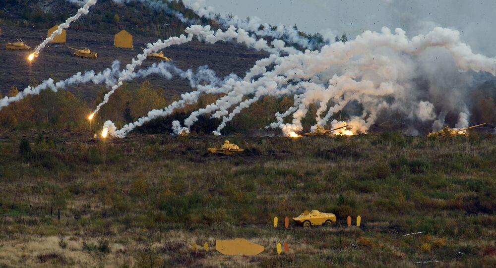 Um show de tiro realizado no âmbito da cerimônia de abertura da exposição internacional de equipamento militar Russia Arms Expo (RAE)