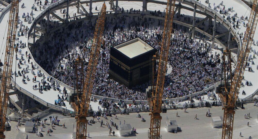 Guindastes no local de expansão da Grande Mesquita, em Meca, Arábia Saudita, 16 de outubro de 2013