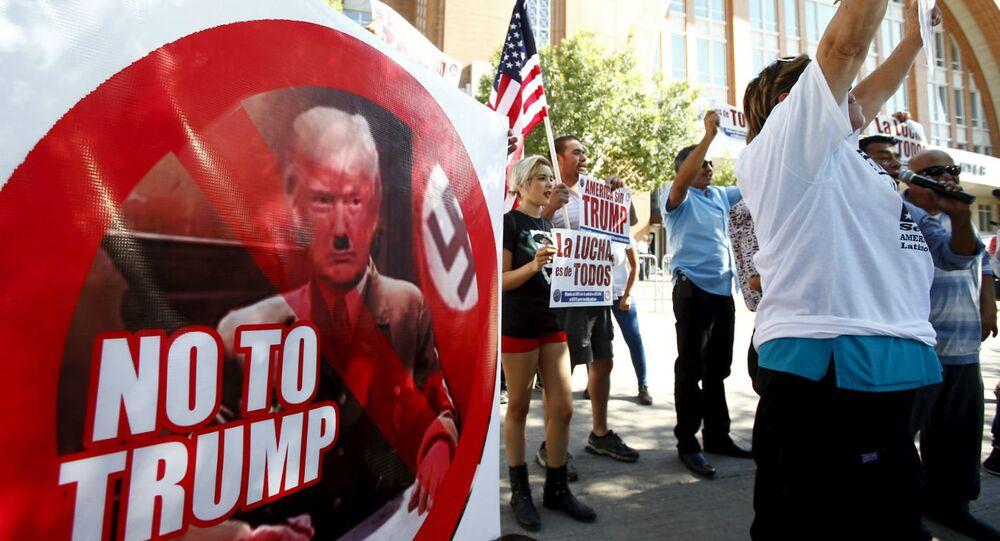 Protesto contra Donald Trump em Dallas.