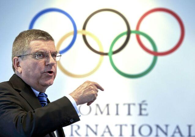 Thomas Bach, presidente do COI, durante o anúncio das cinco candidatas a sediar os Jogos Olímpicos de 2024.