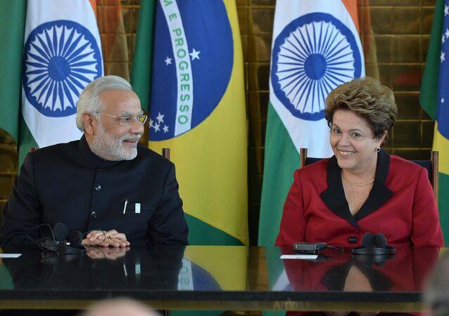 O primeiro-ministro da Índia, Narendra Modi, durante encontro com a presidenta brasileira, Dilma Rousseff, em Brasília, em 16 de julho de 2014