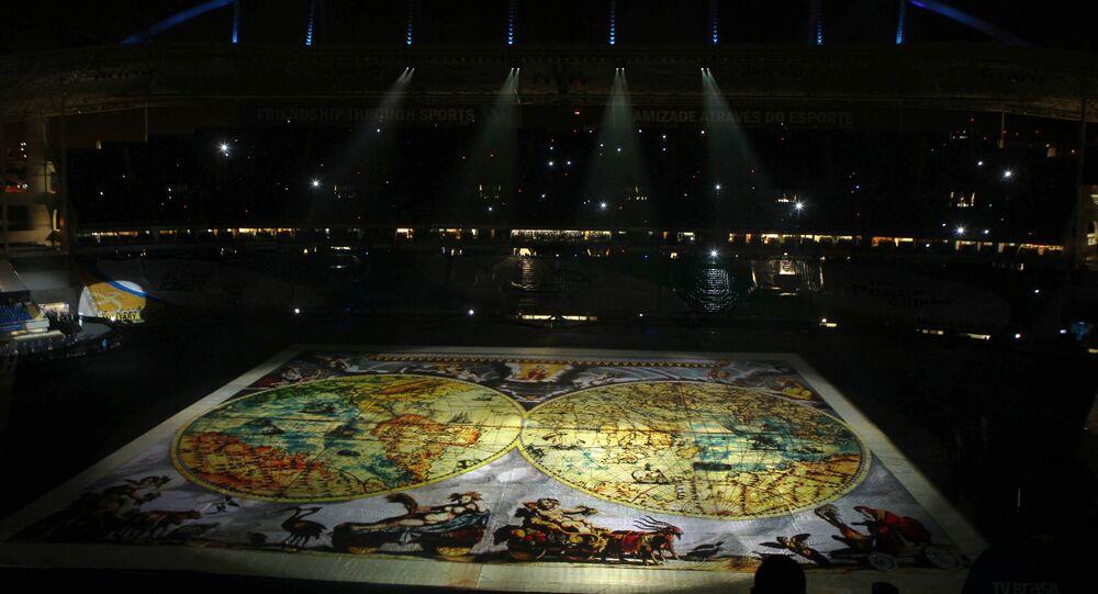 Cerimônia de Abertura dos V Jogos Mundiais Militares no Rio de Janeiro, Brasil. Em 16 de julho de 2011.