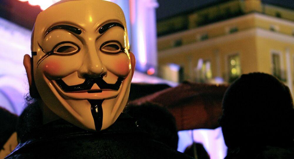 Máscara de Guy Fawkes, símbolo do grupo de hackers Anonymous