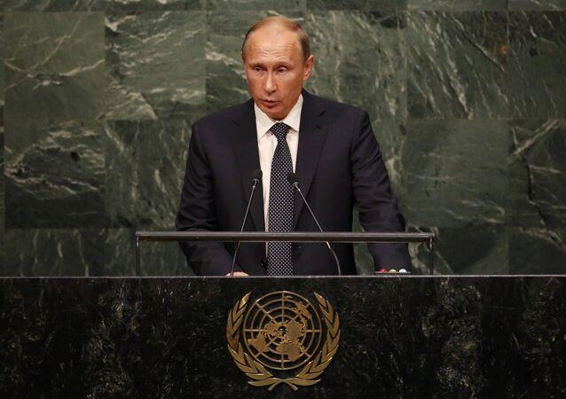 O presidente russo, Vladimir Putin, discursa na 70ª Assembleia Geral da ONU