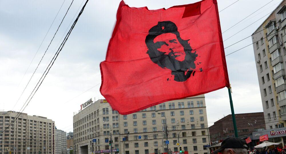 Manifestação do Partido Comunista da Rússia em Moscou
