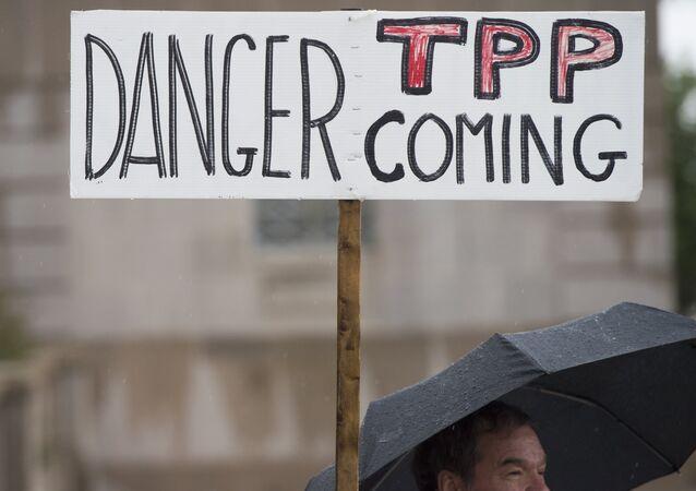 Manifestação contra o acordo TPP. Washington (EUA), 21 de maio, 2015