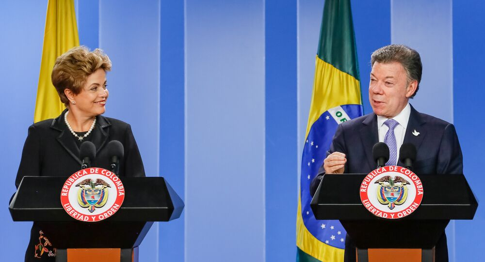 Presidenta Dilma Rousseff e o presidente da Colômbia Juan Manuel Santos fazem declaração à imprensa após encontro
