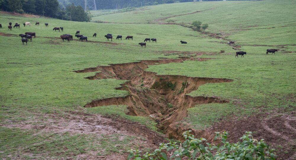 Fazenda em Fukushima com marcas provocadas por terremoto de 2011