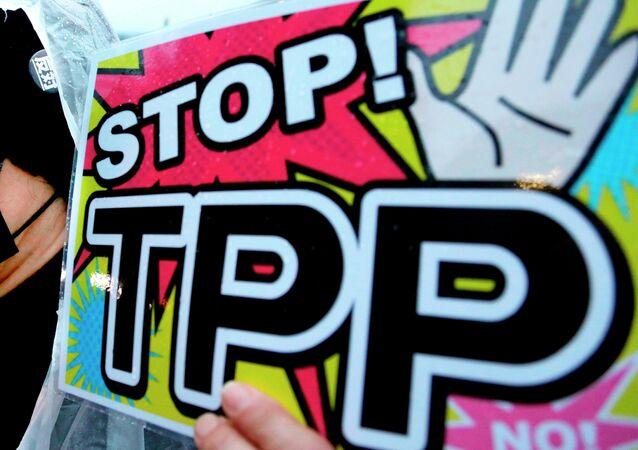 Homem empunha o cartaz durante a demonstração contra a acordo de Parceria Econômica Estratégica Trans-Pacífico