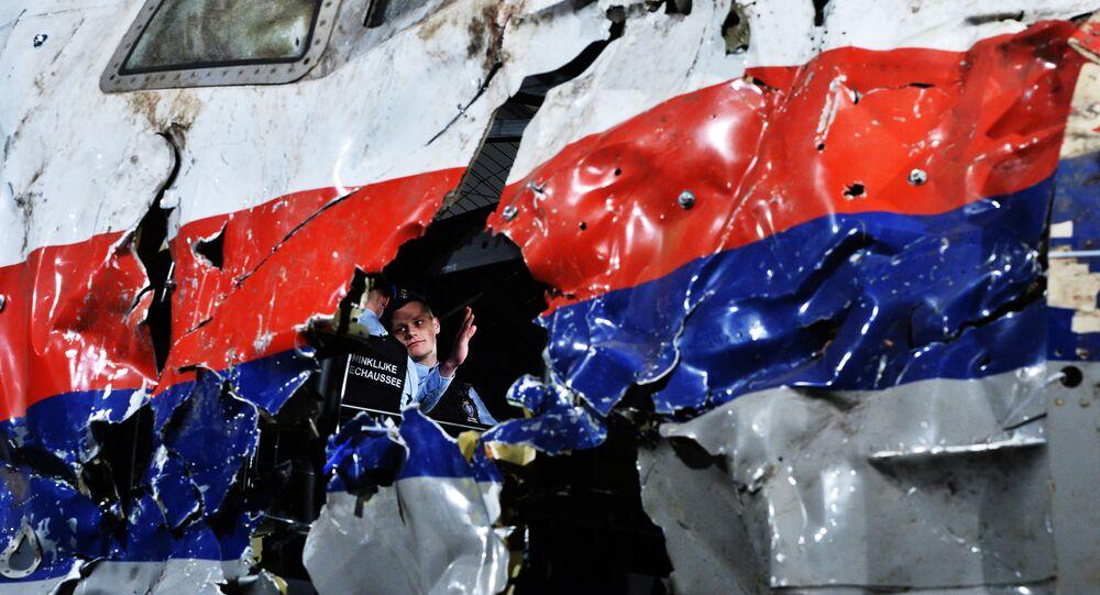 Parte reconstruída do Boeing 777 da Malaysia Airlines (voo MH17) que foi abatido em 2014 no leste ucraniano