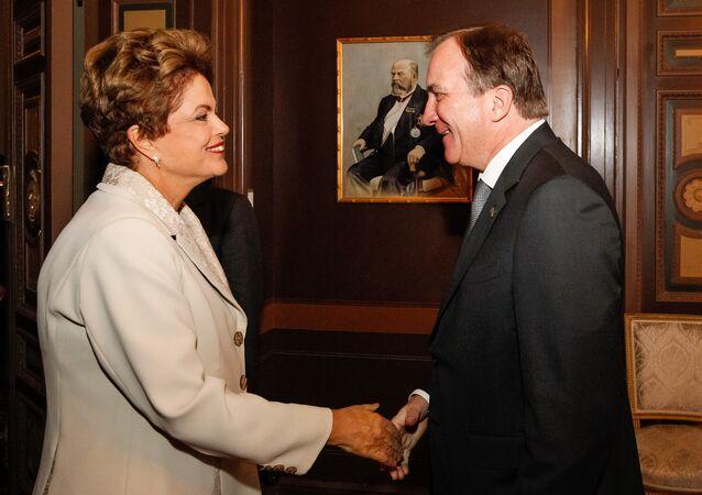 Presidenta Dilma Rousseff durante encontro com o primeiro-ministro da Suécia, Stefan Löfven