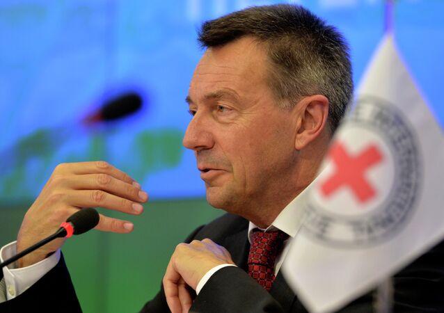Presidente do Comitê Internacional da Cruz Vermelha, Peter Maurer, durante entrevista coletiva em Moscou