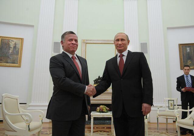Presidente Vladimir Putin se encontra no Kremlin com o Rei Abdullah II da Jordânia, 2 de outubro de 2014