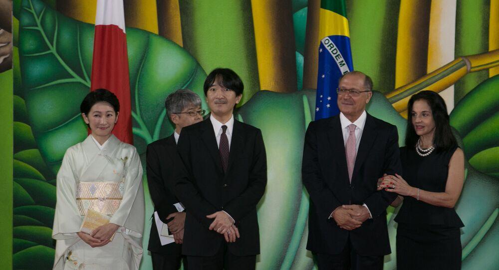 Governador de São Paulo, Geraldo Alckmin, com o Príncipe Akishino e sua esposa, a princesa Kiko, da Família Imperial Japonesa