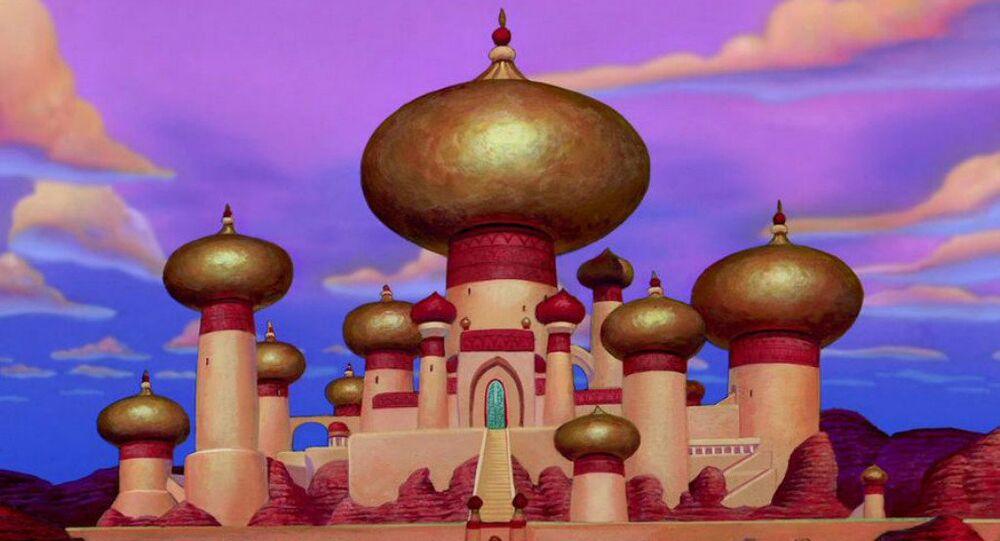 O palácio do Sultão do Alladin da Disney, inspirado pelo o Taj Mahal.
