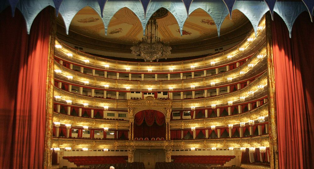 General view of the hall from the Bolshoi Theatre stage in Moscow,