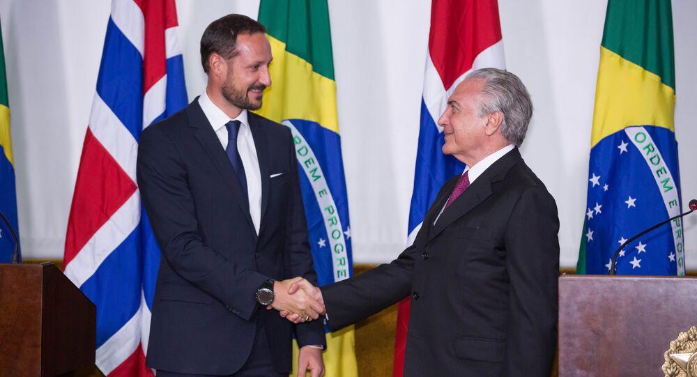 Vice-presidente Michel Temer recebe Haakon Magnus, príncipe herdeiro da Noruega