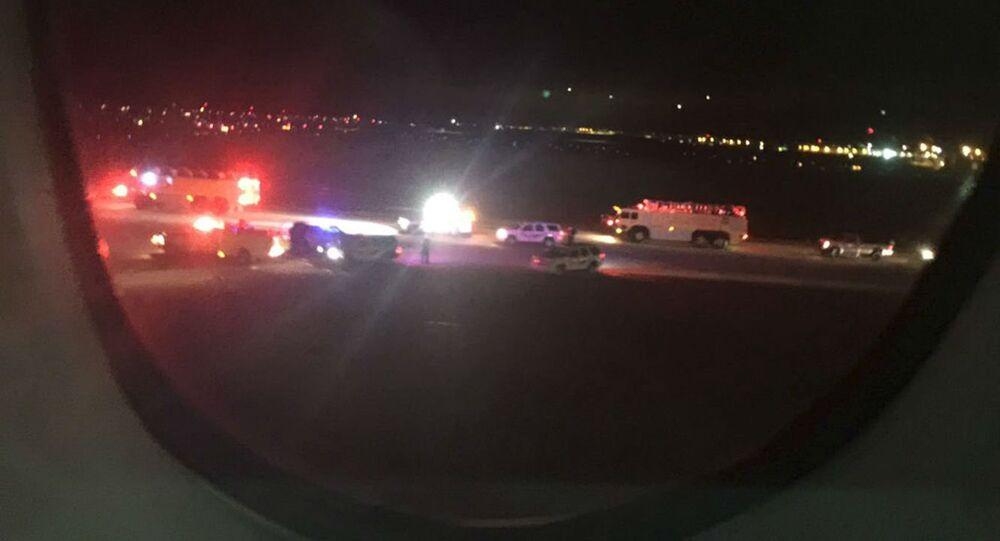 O passageiro Keith Rosso fotografou do interior do avião a chegada do voo 65 a Salt Lake City.