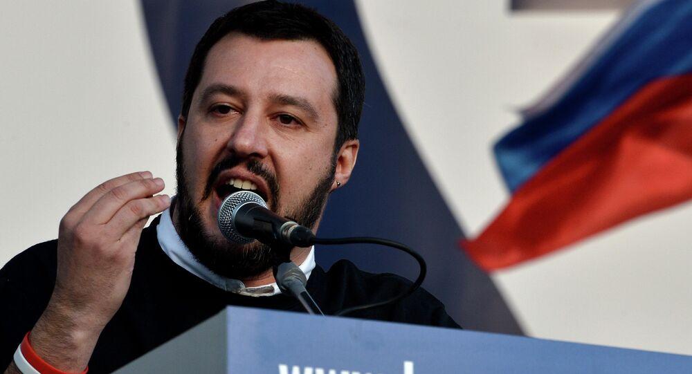 Matteo Salvini, presidente da Lega Nord, durante discurso em Roma