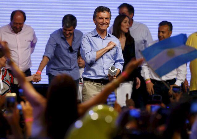 Maurício Macri comemora a vitória nas eleições presidenciais argentinas