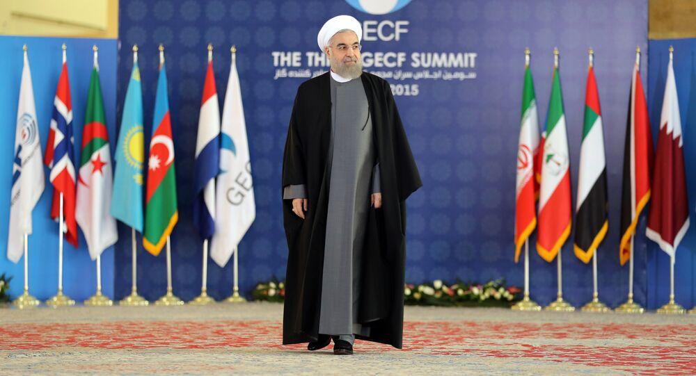 Presidente do Irã, Hassan Rouhani, na abertura do Fórum de Países Exportadores de Gás, em Teerã