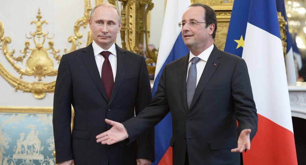 Presidente da Rússia, Vladimir Putin, e presidente da França, François Hollande