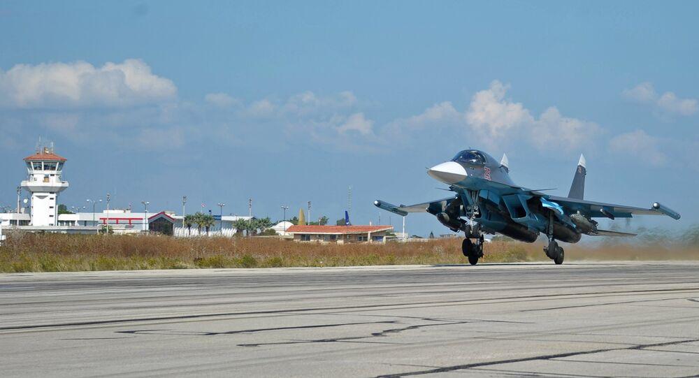 Caça russo na base aérea de Hmeymim, na Síria