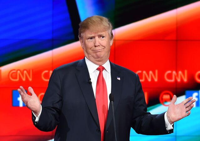 Candidato republicano à Presidência dos EUA, Donald Trump, durante o debate presidencial republicano organizado pela CNN, no The Venetian, em Las Vegas, Nevada. 15 de dezembro.