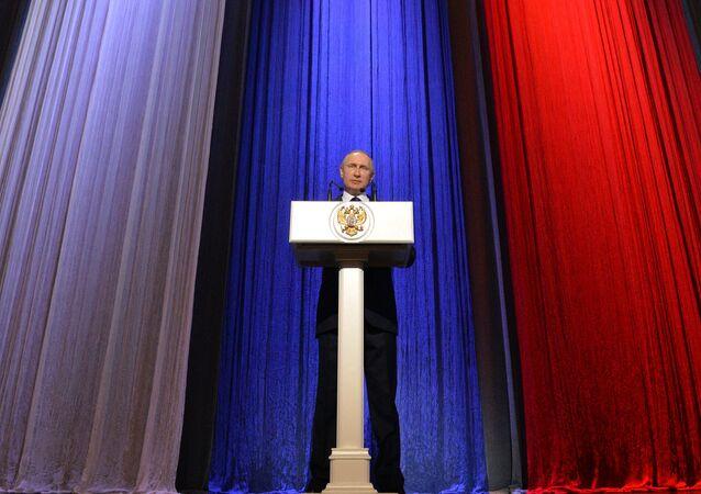 Vladimir Putin no Kremlin, durante um evento solene dedicado ao Dia dos Organismos de Segurança da Rússia