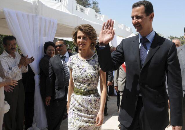 Presidente sírio Bashar Assad e sua esposa, Asma Assad