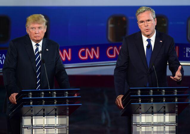 Candidatos à presidência norte-americana do Partido Republicano, Donald Trump e Jeb Bush, debates presidenciais, Califórnia, EUA, 16 de setembro de 2015