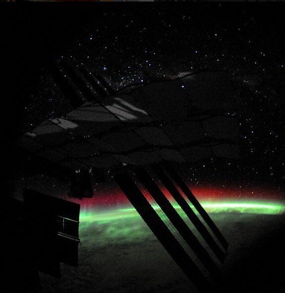 Aurora polar sobre o Polo Sul
