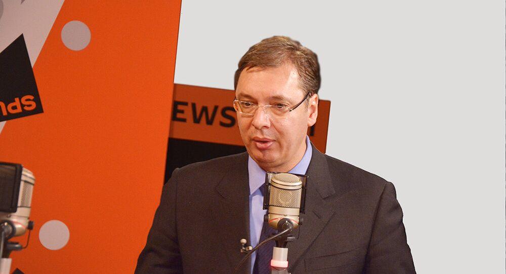 Presidente sérvio, Aleksandar Vucic, durante entrevista exclusiva à Sputnik (arquivo)