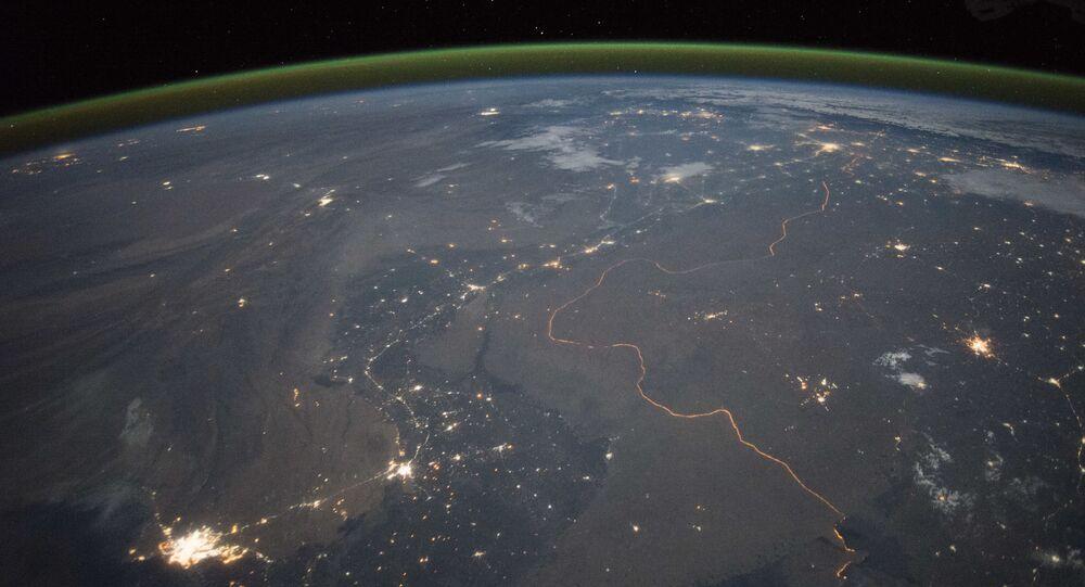 Vista para a fronteira da Índia do Cosmos