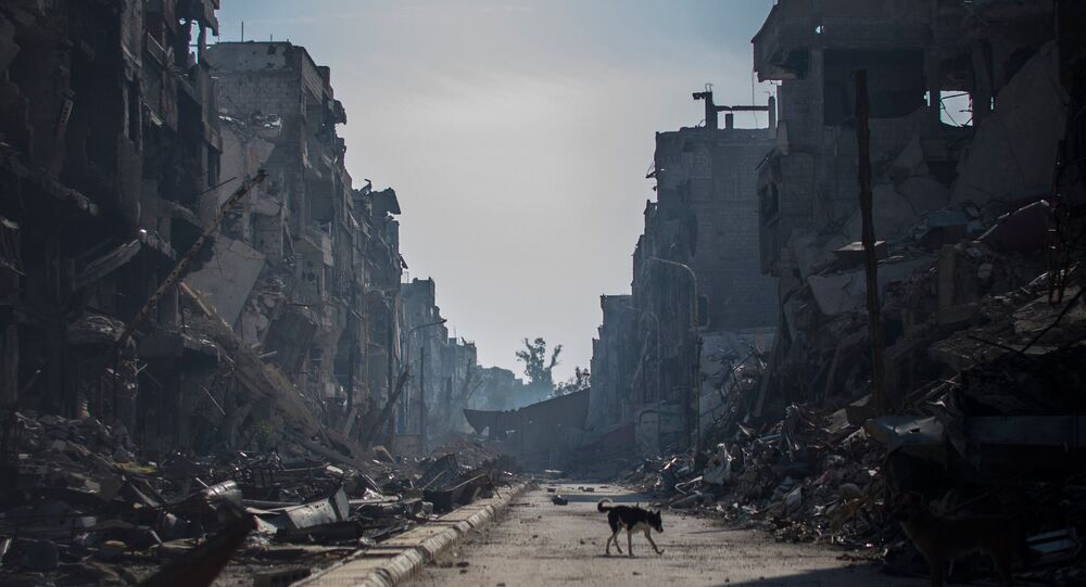 Um bairro de Damasco em ruinas