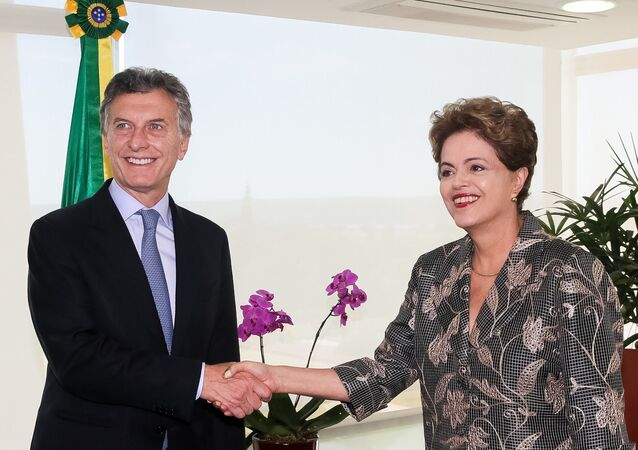 Mauricio Macri e Dilma Rousseff em Brasília.