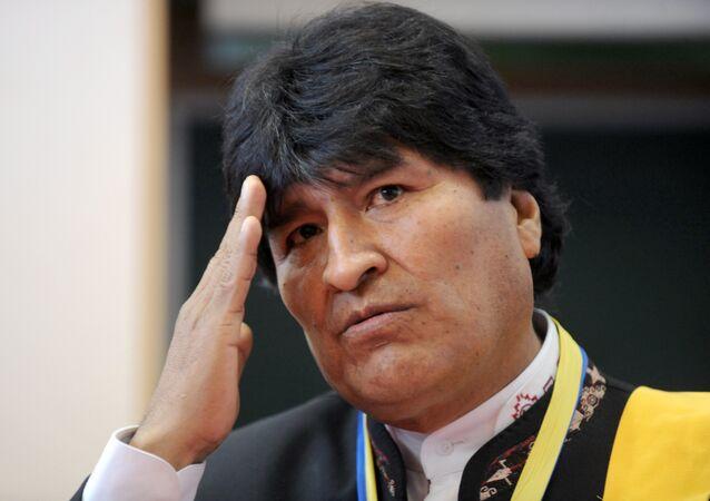 Evo Morales após receber o Doctor Honoris Causa na Universidade de Adour, na França, em 7 de novembro de 2015