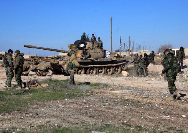 Militares sírios na província de Aleppo