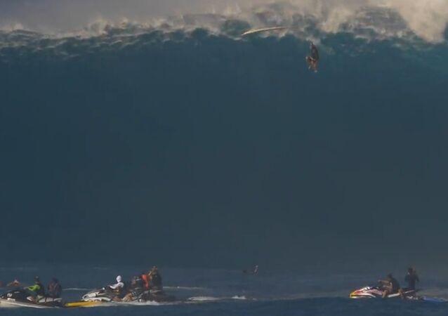 Surfer Drops 40 Feet.