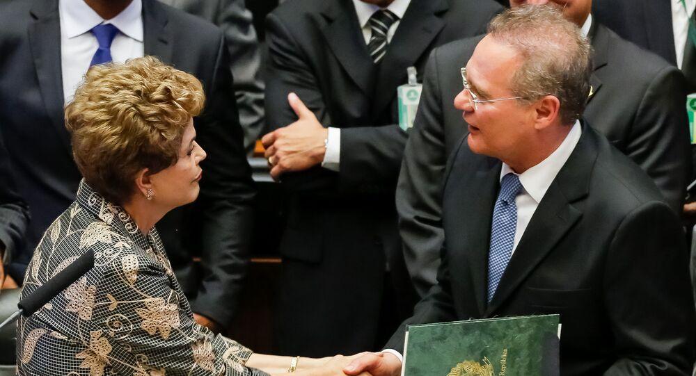 Presidente do Senado Renan Calheiros com Presidenta Dilma Rousseff