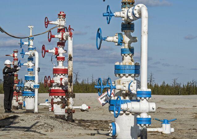 Funcionário de uma empresa petrolífera durante inspeção em campo de petróleo do norte da Rússia (arquivo)