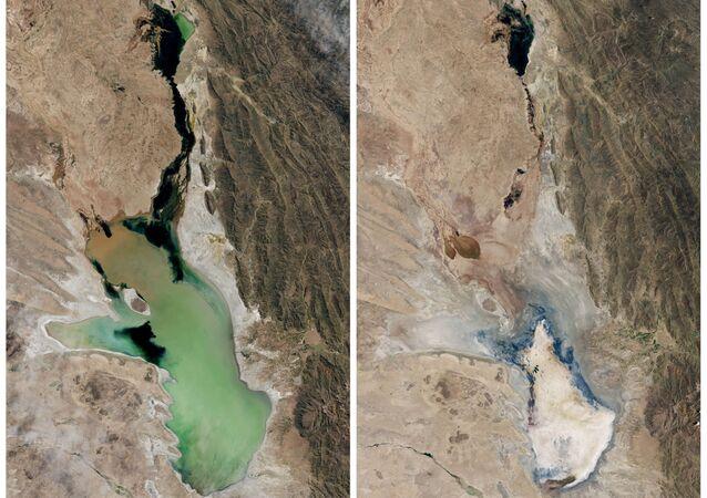 Imagens do Observatório da Terra da NASA mostram o Lago Poopó cheio de água em 12 de abril de 2013 (esquerda) e quase seco em 15 de janeiro de 2016 (direita).