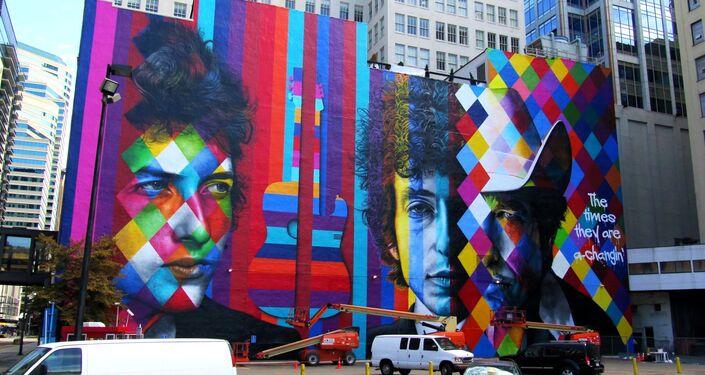 Bob Dylan, por Eduardo Kobra, Minneapolis, estado de Minnesota, EUA
