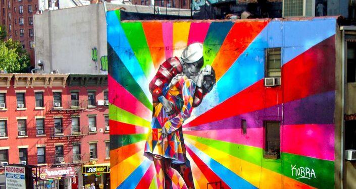 O Beijo, por Eduardo Kobra, Nova Iorque, EUA