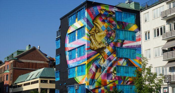 Alfred Nobel, por Eduardo Kobra, Boras, Suécia