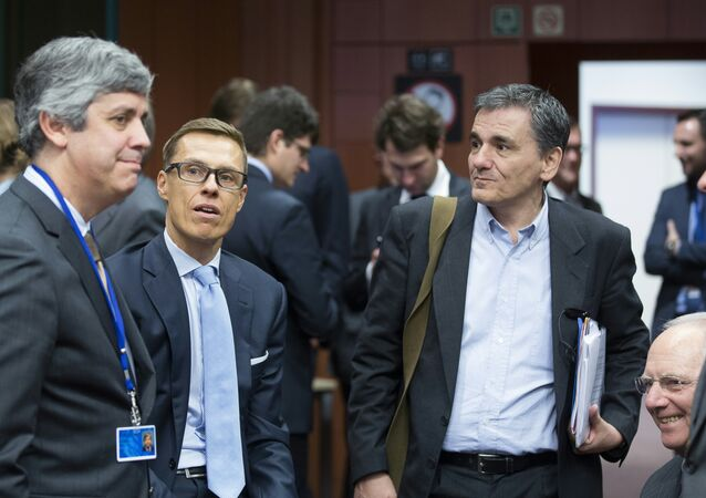 Da esquerda à direita: os ministros das Finanças de Portugal, Mário Centeno, da Finlândia, Alexander Stubb, da Grécia, Euclid Tsakalotos, e da Alemanha, Wolfgang Schauble, no encontro das pastas na sede do Eurogrupo em 11 de fevereiro de 2016