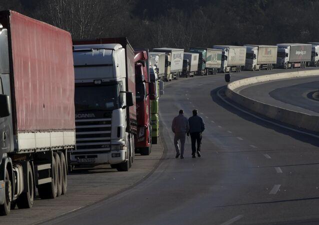 Caminhões. Foto de arquivo