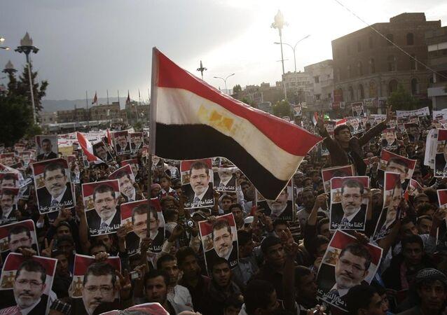 Partidários de Mohamed Morsi durante a Primavera Árabe no Egito, em 2013