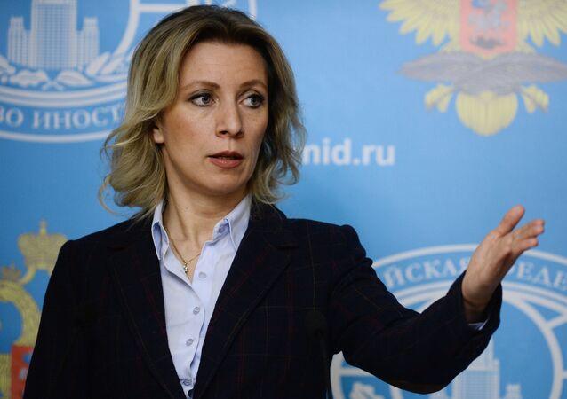 Representante oficial do Ministério das Relações Exteriores russo, Maria Zakharova, durante a entrevista coletiva semanal, Moscou, Rússia, 18 de fevereiro de 2016